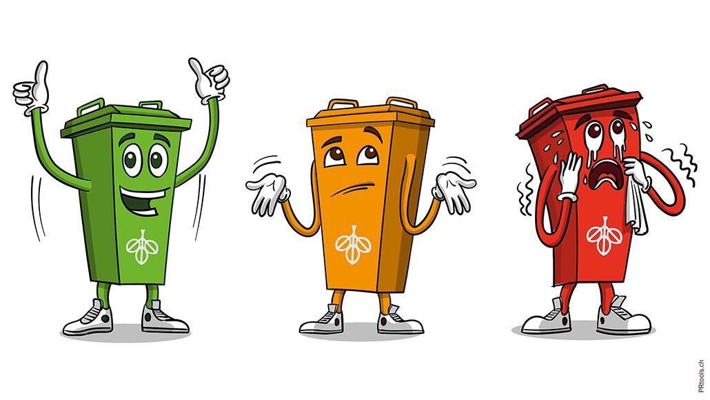 PR-Kampagne REAL-Grüngut-Kampagne: das Gesicht der Kapagne die freundliche Tonne Toni Grün. Je nach Fremdstoffanteil im Grüngut ändert er seine Farbe in Grün, Orange oder Rot. Mit der Guerilla-Aktion, Medienarbeiten und geschickt eingesetztem Content Management soll die Bevölkerung auf die Bedeutung von sauberem Grüngut und die Problematik von Fremdstoffen im Grüngut aufmerksam gemacht werden.