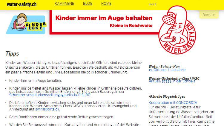 Online PR water-safety.ch: Eltern und Betreuungspersonen von Kindern und Kleinkindern sollen sich aktiv mit den Präventionsbotschaften auf der Seite water-safety.ch auseinandersetzen.