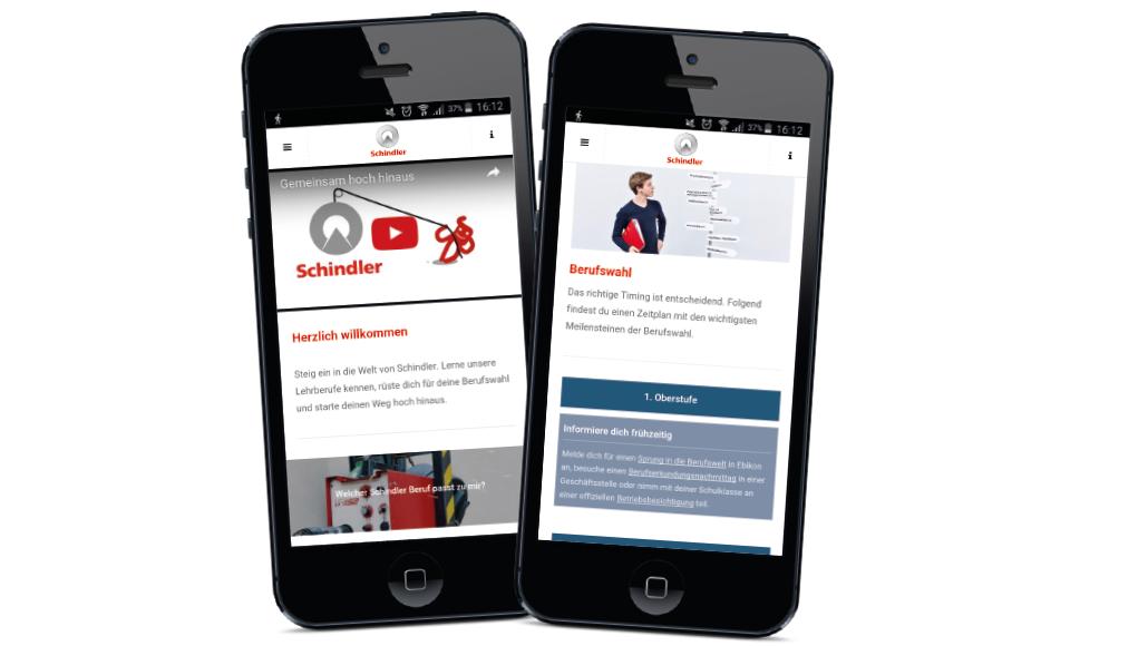 Employer Branding Lehre bei Schindler: Smartphones mit der App für die Schindler Berufsbildung. Die Smartphone App wurde für die junge Zielgruppe am Stand der Schindler Berufsbildung an der Zentralschweizer Bildungsmesse 2015 lanciert.