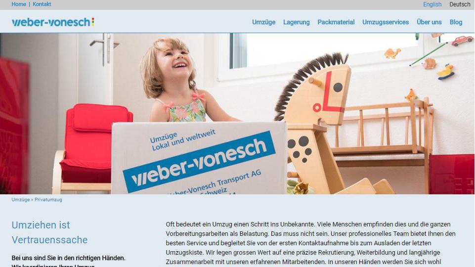 Der neue Webauftritt von Weber-Vonesch überzeugt mit einer emotionalen Bildwelt.