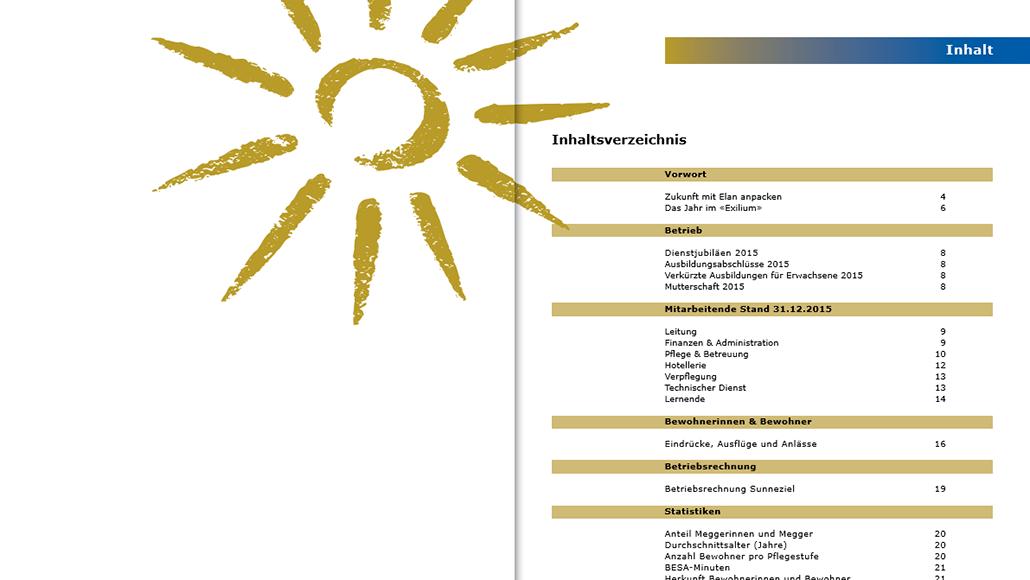 Traditionelle PR Auftritt Sunneziel: Die Logos der vier Brands nehmen ausgehend vom Naming die Farben und Formen des ursprünglichen Sunneziel-Logos mit der Sonne auf. Die Typographie wird erneuert. Die Kommunikationsmittel werden vereinheitlicht. Prägend sind die Farben gold und blau beziehungsweise die Elemente Sonne und Himmel.
