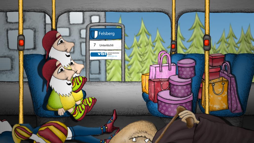 Content Formats Multimedia VBL Busordnung: Animationsfilm der im VBL-Bus abgespielt wurde. PRtools konzipiert und entwickelt einen Animationsfilm über die Verhaltensregeln im Bus für die Verkehrsbetriebe Luzern.